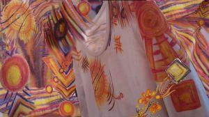 Shirt im Frühlingsuniversum orange-gelb