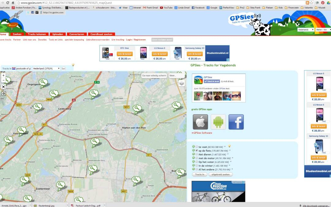Overal fietsen met GPsies.com