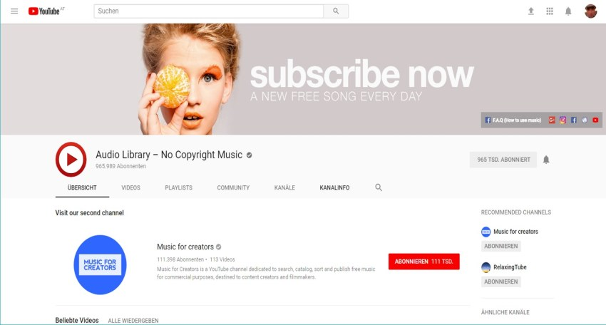 Youtube-Channel Audio Library