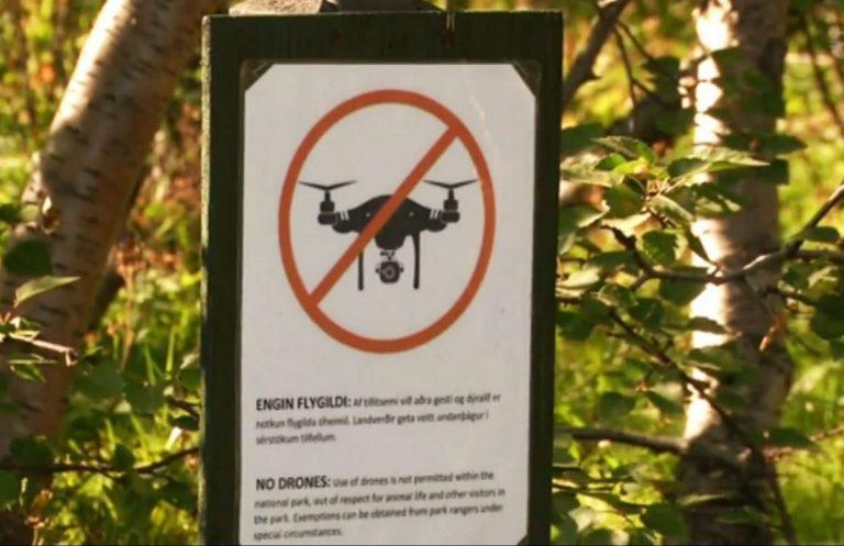 Drohnen-Verbotsschild in Island