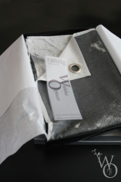 Quality woven black and white Tea Towel 'Ranzig' in individual packaging