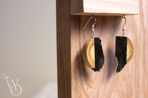 earrings bog oak and robinia