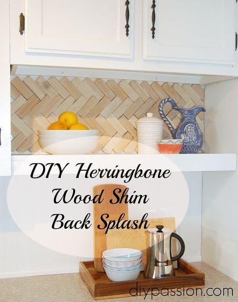 wood shim herringbone backsplash