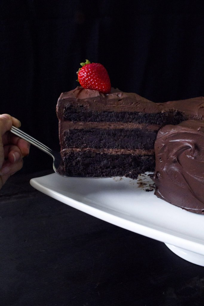 Vegan Chocolate Cake with Whipped Ganache