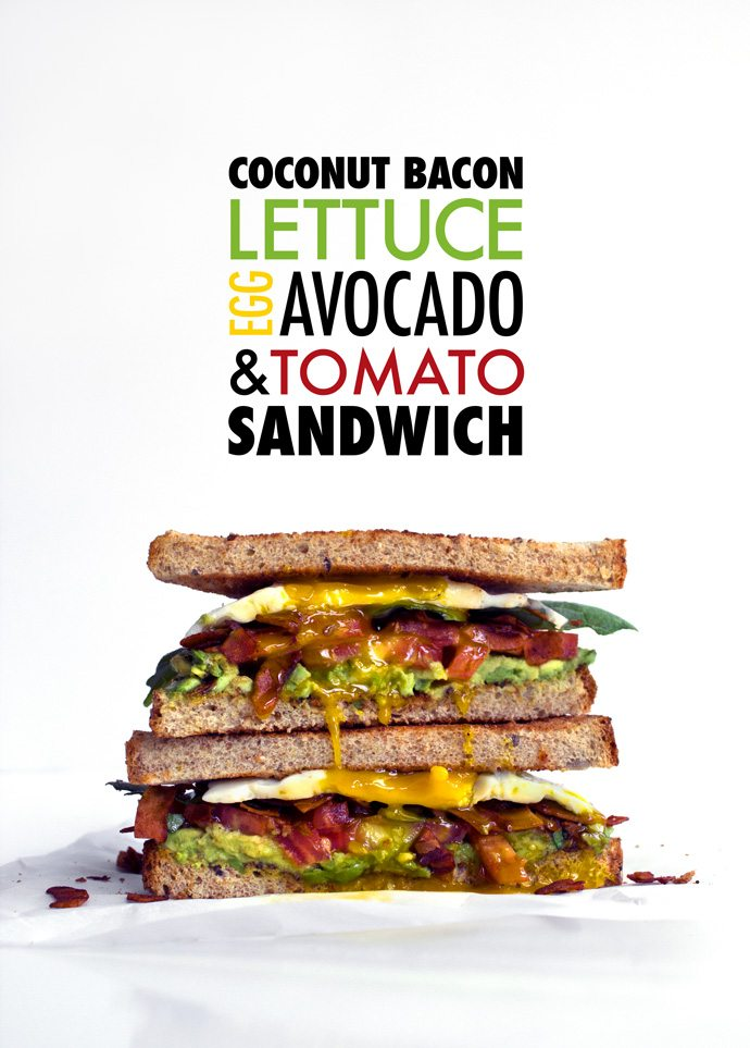 Healthier Egg & Avocado BLT made with Coconut Bacon