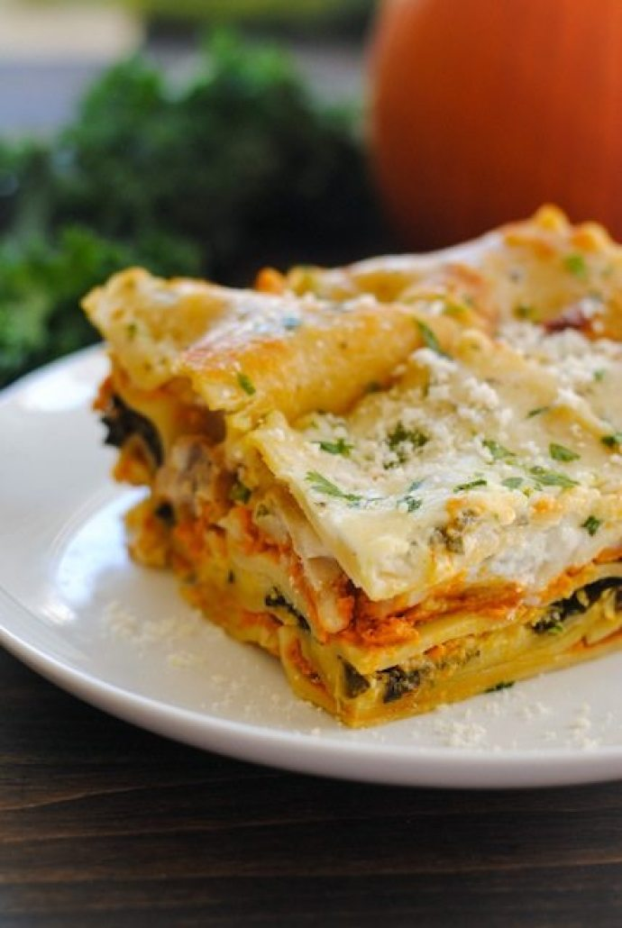 15 Must-Try Healthy Pumpkin Recipes To Celebrate Fall   Pumpkin Kale Lasagna from Foxes Love Lemons