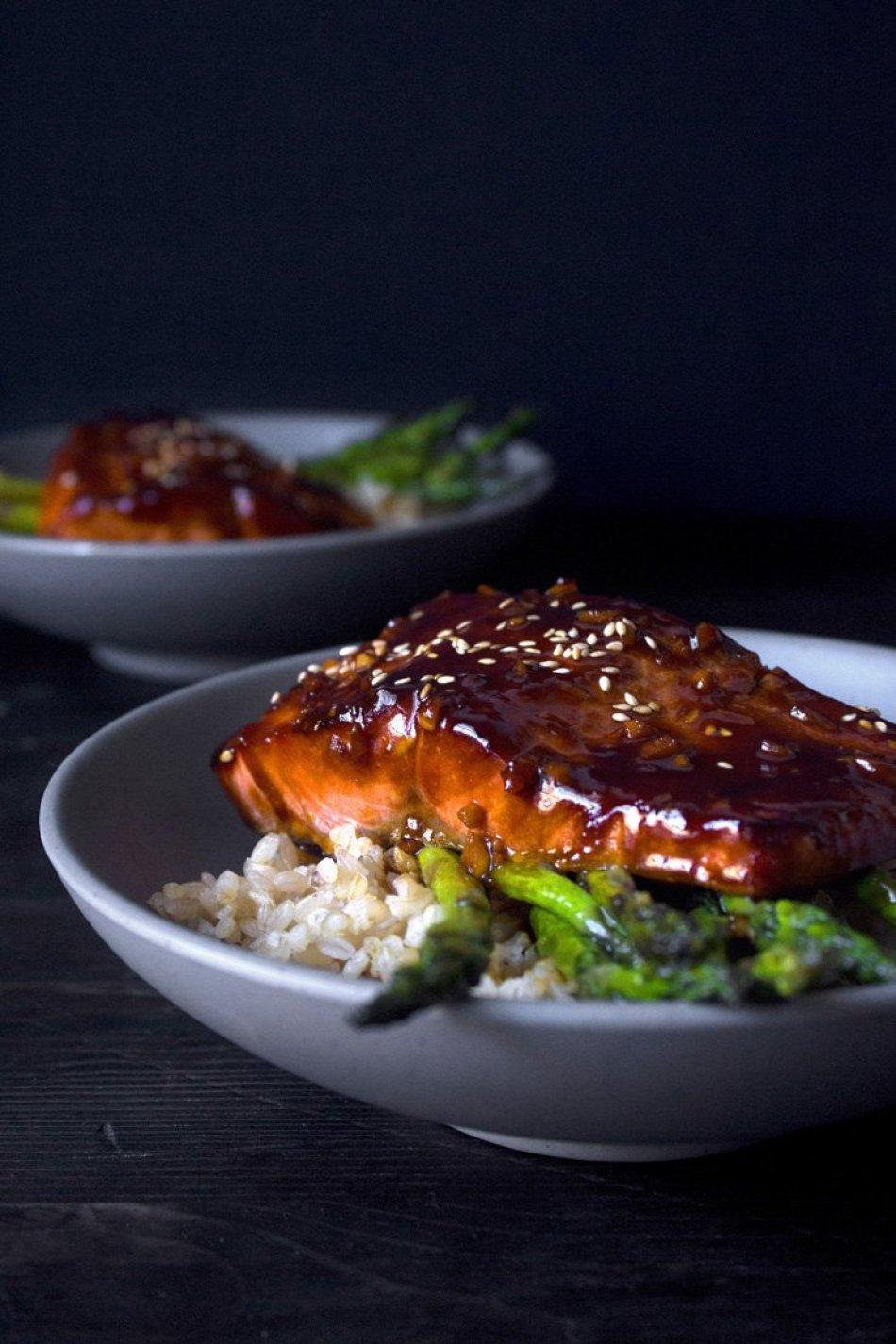 Teriyaki Salmon Bowl with Garlic Sautéed Asparagus