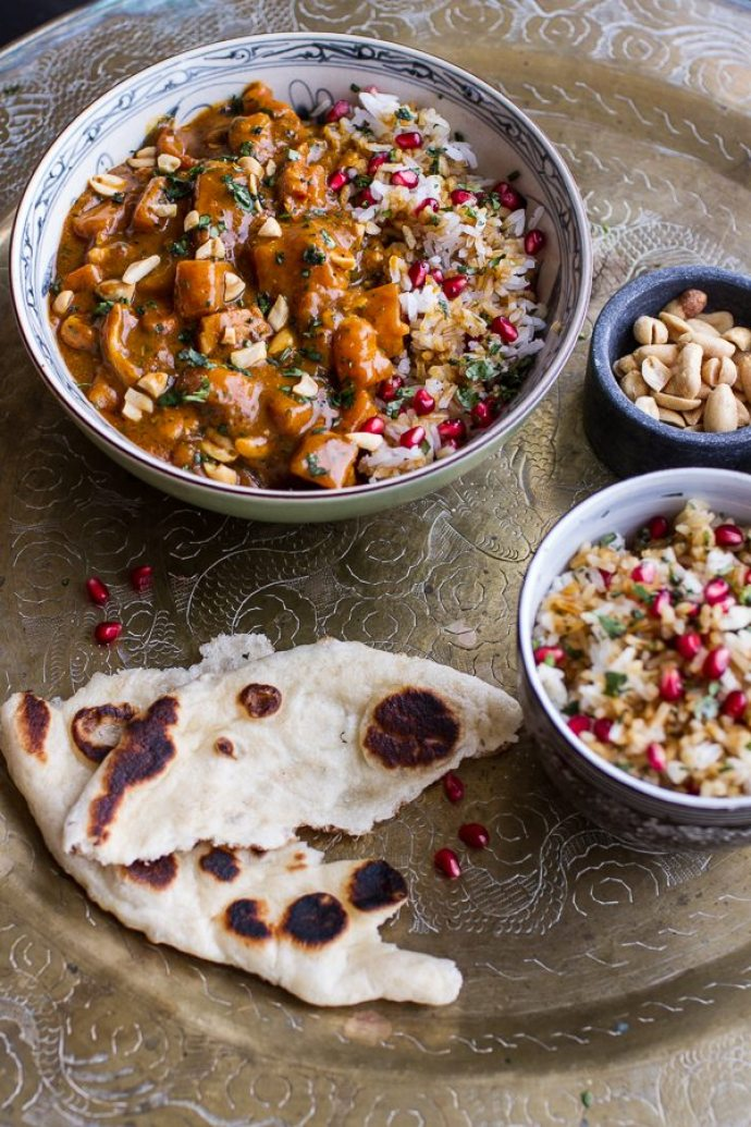 15 Must-Try Healthy Pumpkin Recipes To Celebrate Fall   Thai Peanut Chicken and Pumpkin Curry with Sticky Pomegranate Rice from Half Baked Harvest