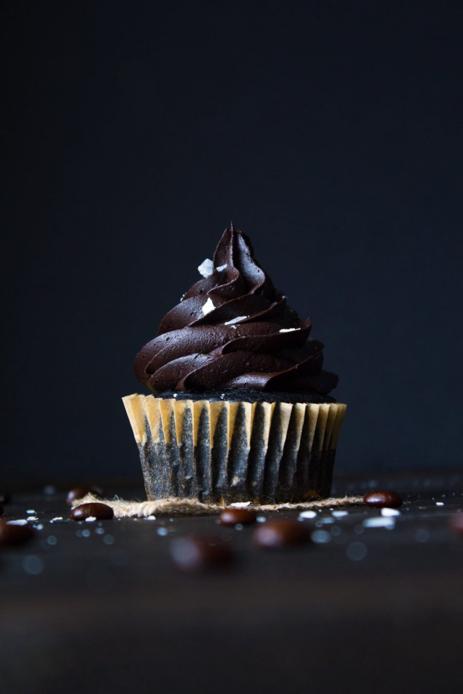 Salted Chocolate Mocha Cupcakes Up Close