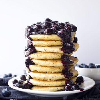 Lemon Poppy Seed Pancakes With Blueberry Sauce
