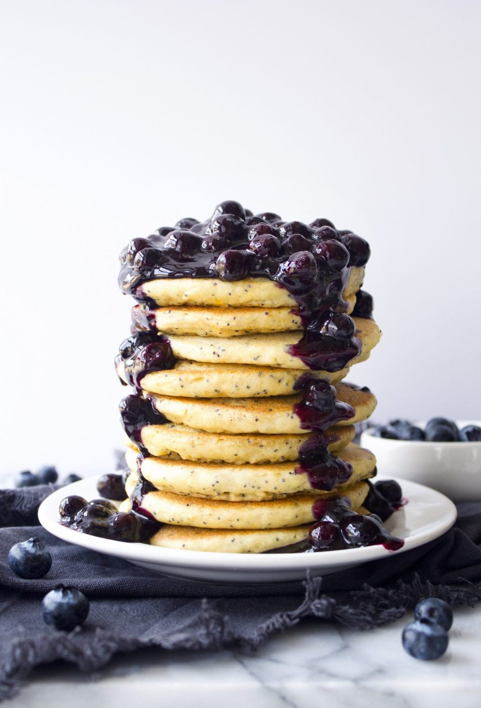Lemon Poppyseed Pancakes With Blueberry Sauce | Gluten, dairy, and refined sugar free.