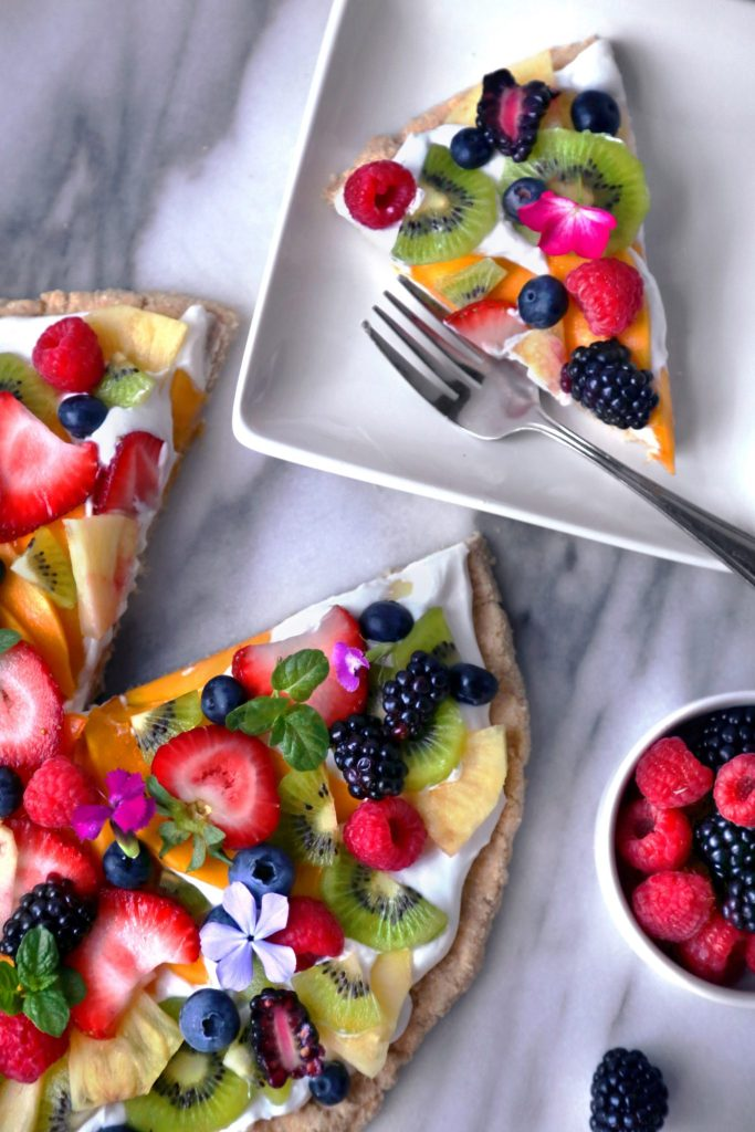 Healthier Tropical Fruit Pizza | Free of dairy, gluten, grains, and refined sugar!