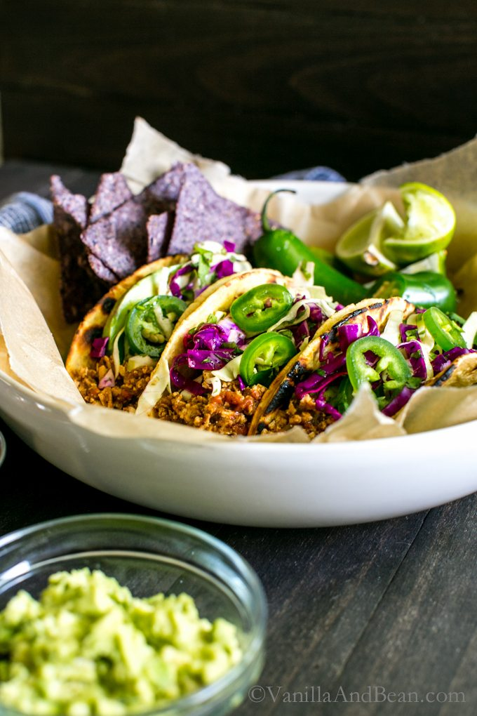 Mexican Inspired Tofu Tacos from Vanilla and Bean