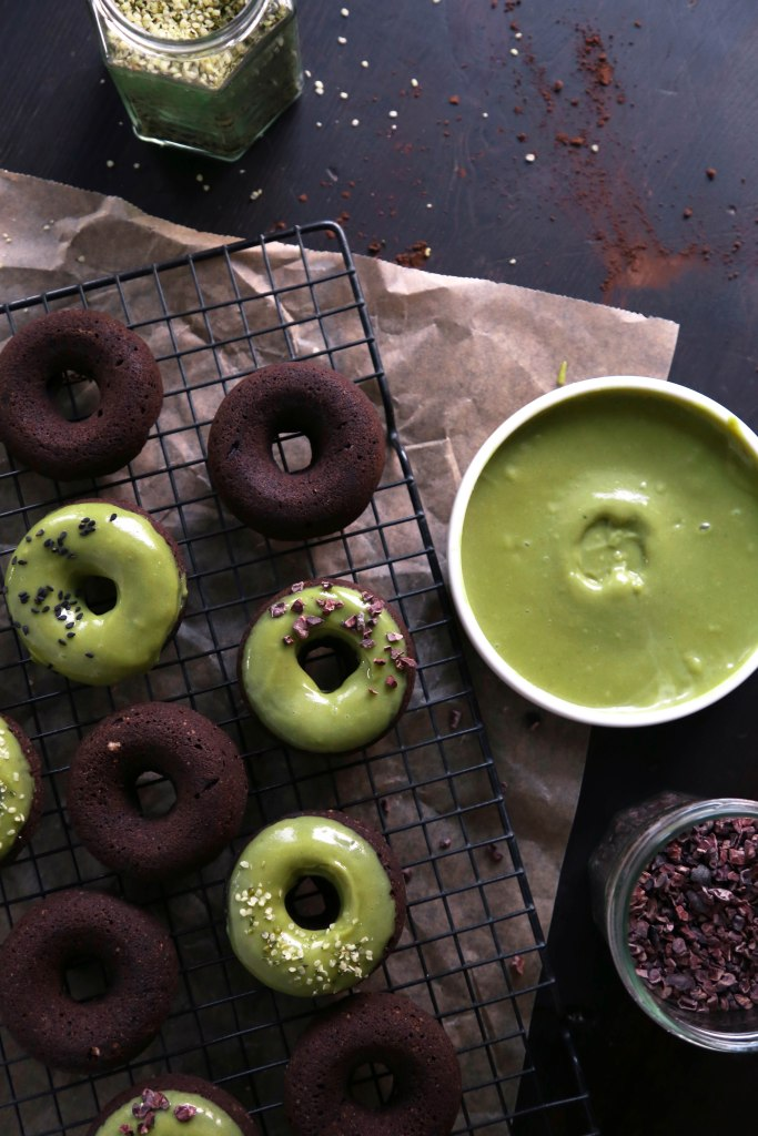 Chocolate Cake Doughnuts With Matcha Glaze