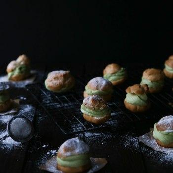 Cream Puffs with Matcha Coconut Cream