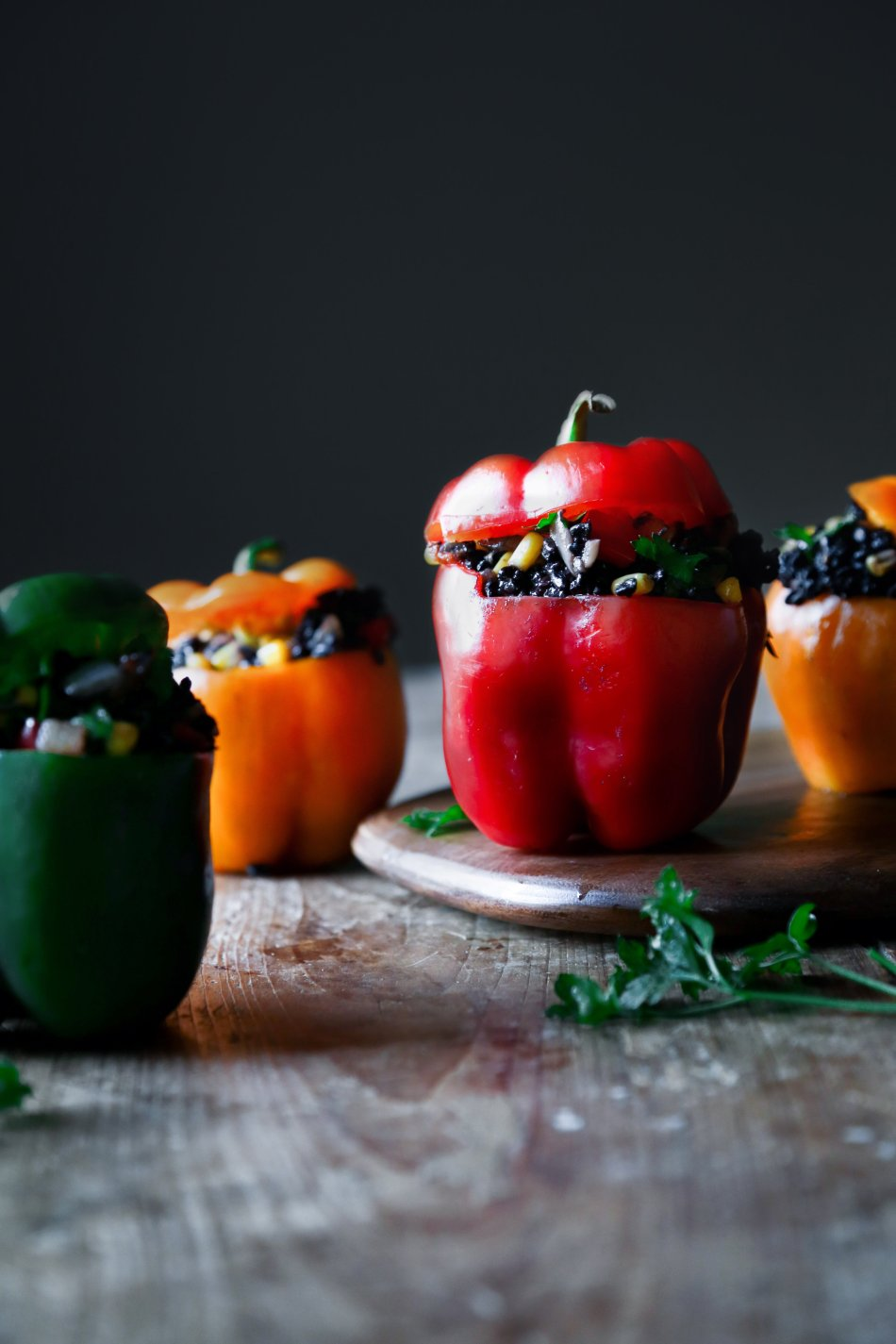 Black Rice Chicken Fajita Stuffed Peppers | Gluten and dairy free. Omit chicken for vegan/vegetarian version.