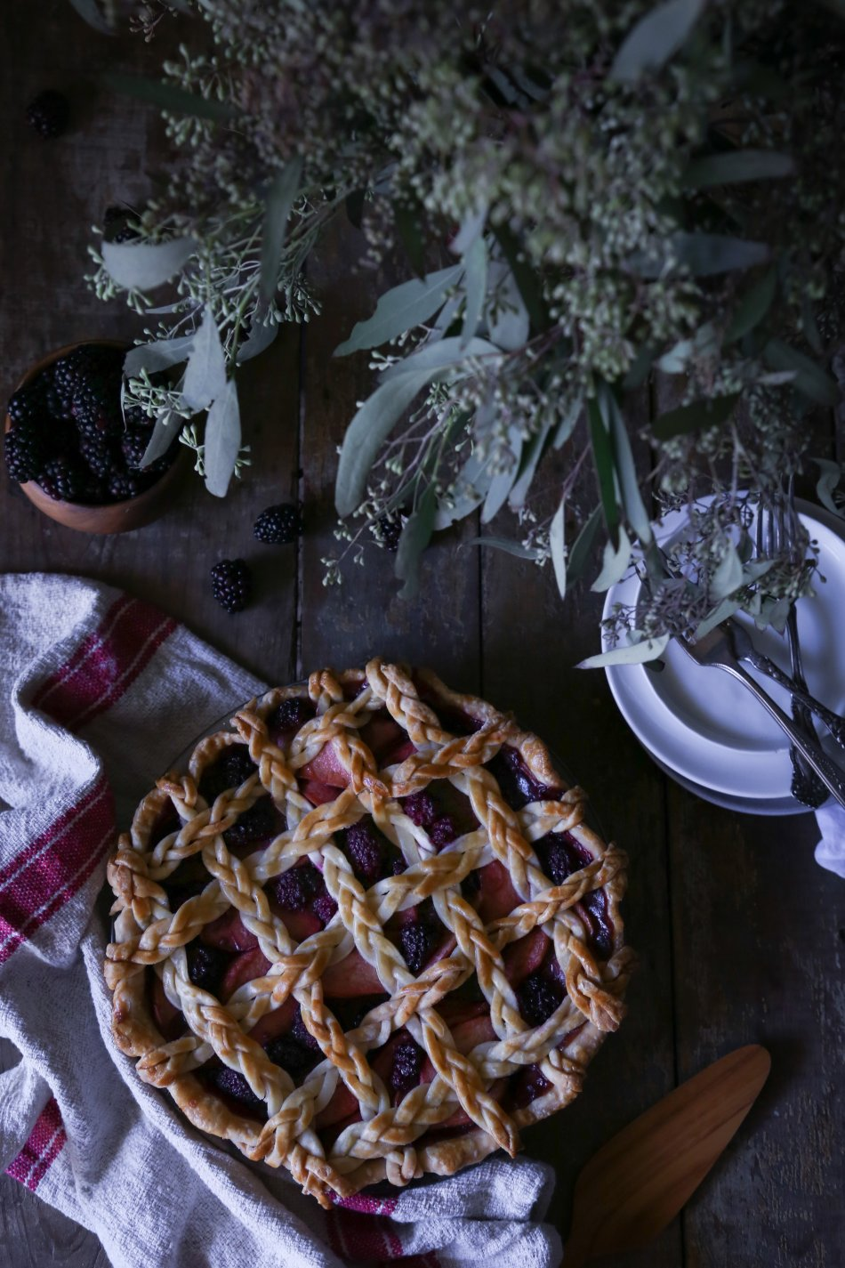 Simple Apple-Blackberry Pie with Braided Lattice Crust | Refined Sugar Free. Dairy + Gluten Alternatives Included.
