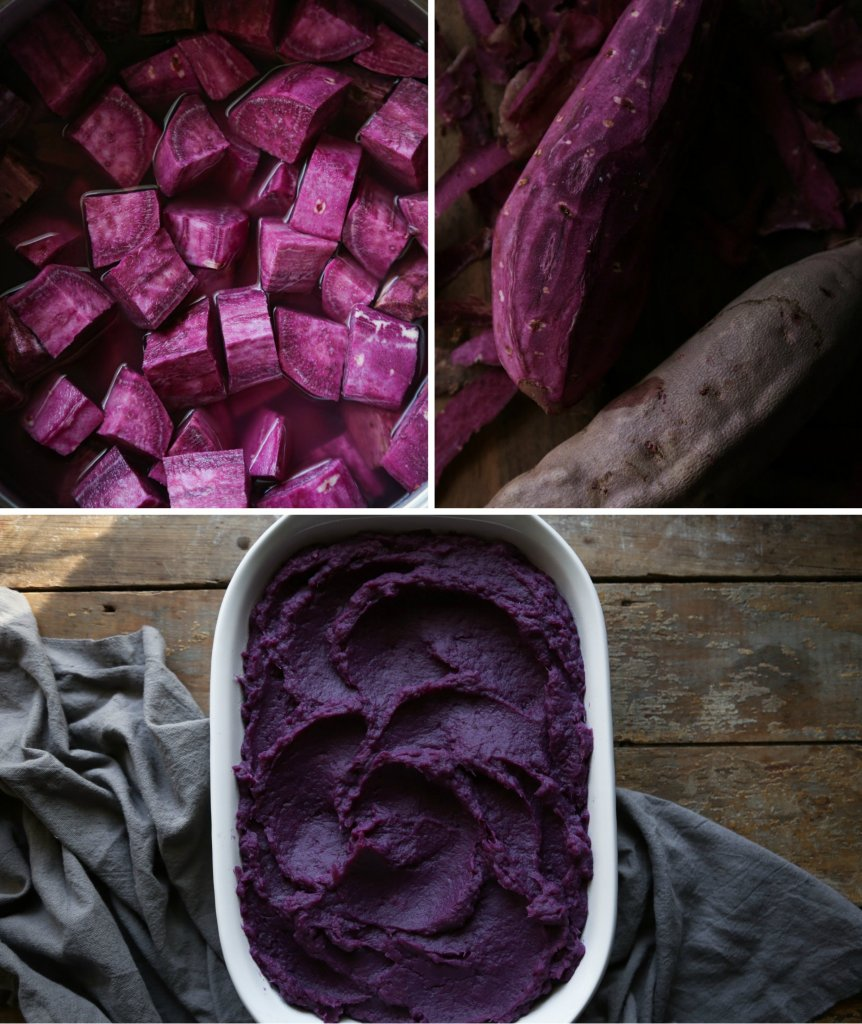 Purple Sweet Potato Casserole with Toasted Marshmallow Meringue | Free of gluten, grains, dairy, and refined sugar!