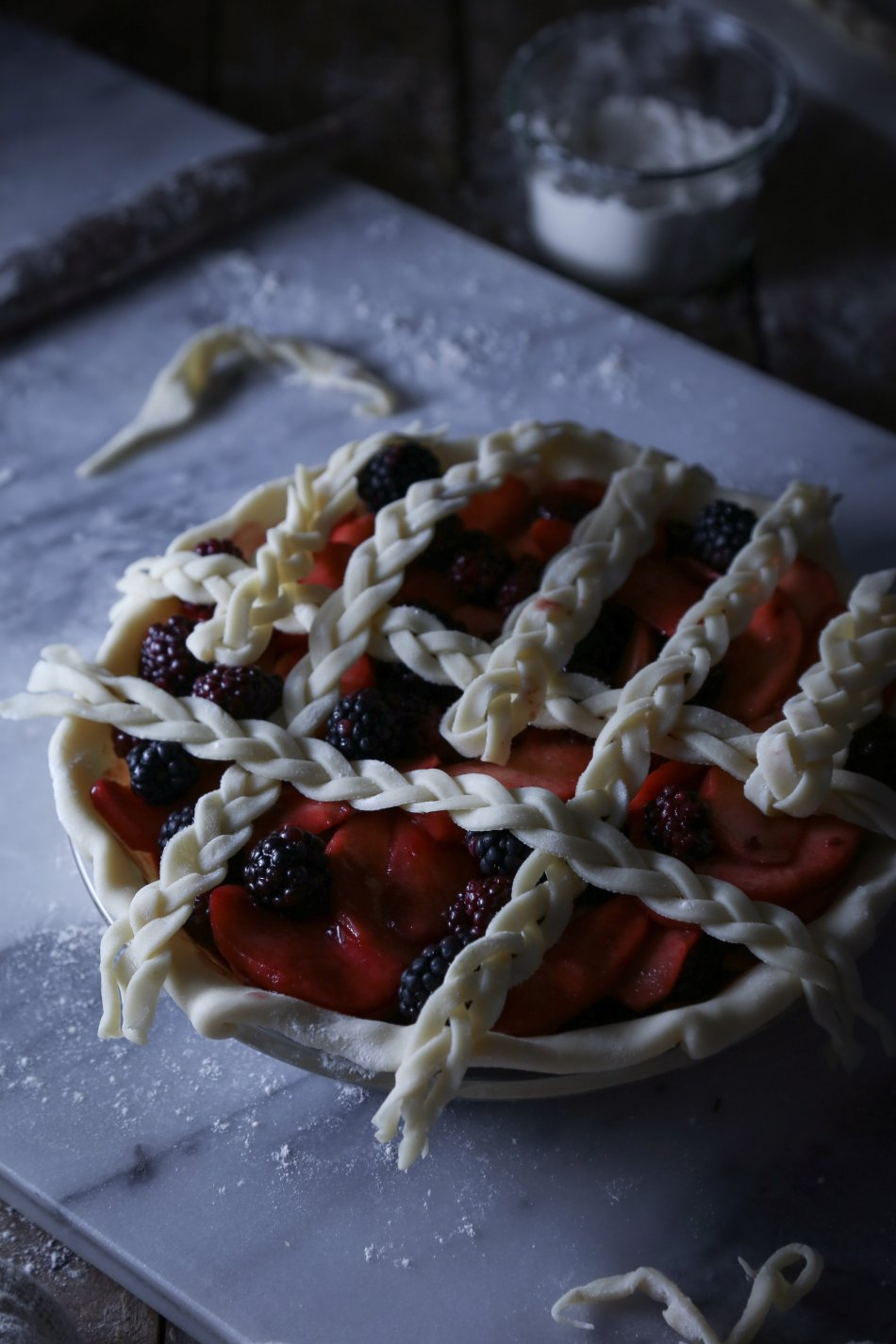 Apple-Blackberry Pie with Braided Lattice Crust | Refined Sugar Free. Dairy + Gluten Alternatives Included.
