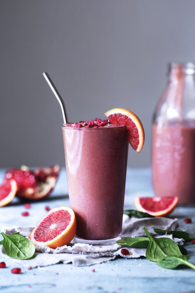Blood Orange, Berry, & Spinach Smoothie   Dairy and Refined Sugar Free