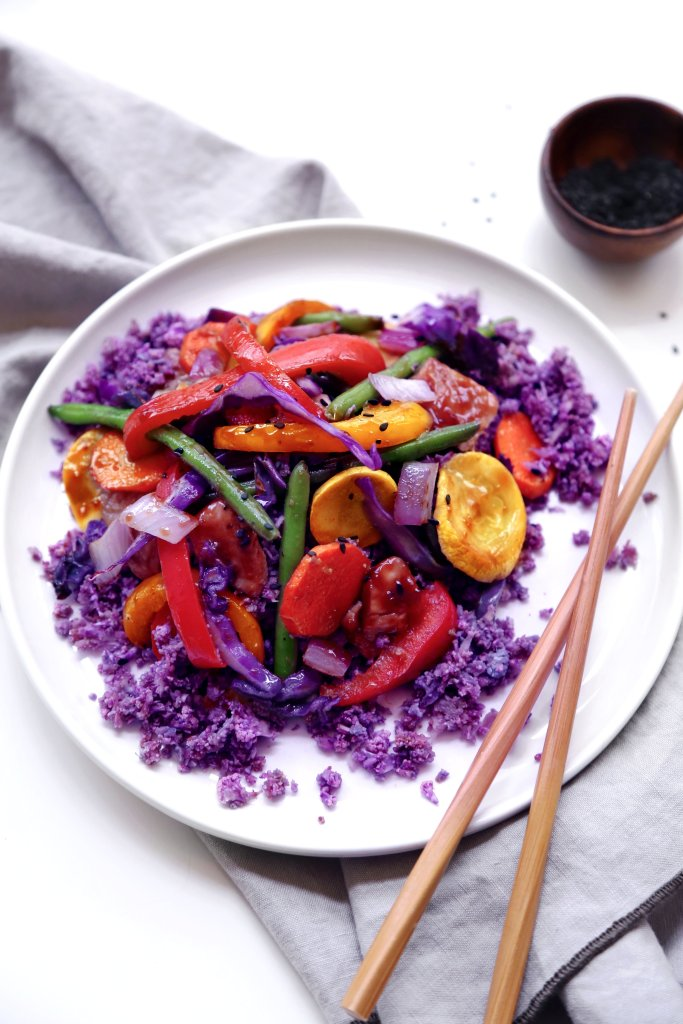 Teriyaki Stir-Fry with Cauliflower Rice   Whole30/paleo friendly. Can easily be made vegan/vegetarian.