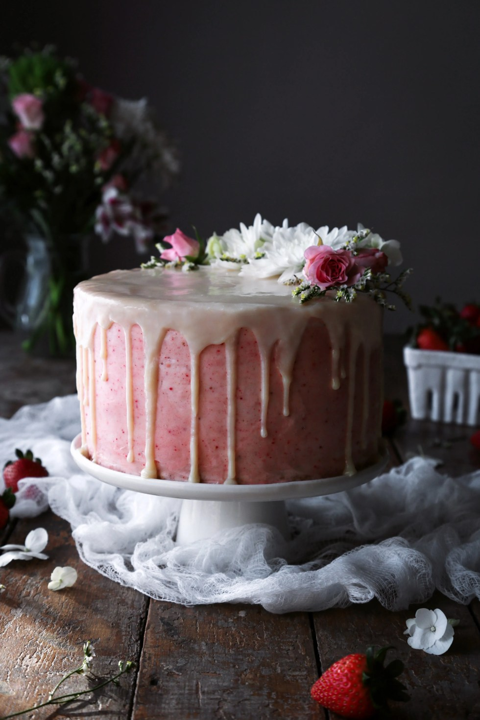 Vanilla Cake with Strawberry Buttercream | Wife Mama Foodie
