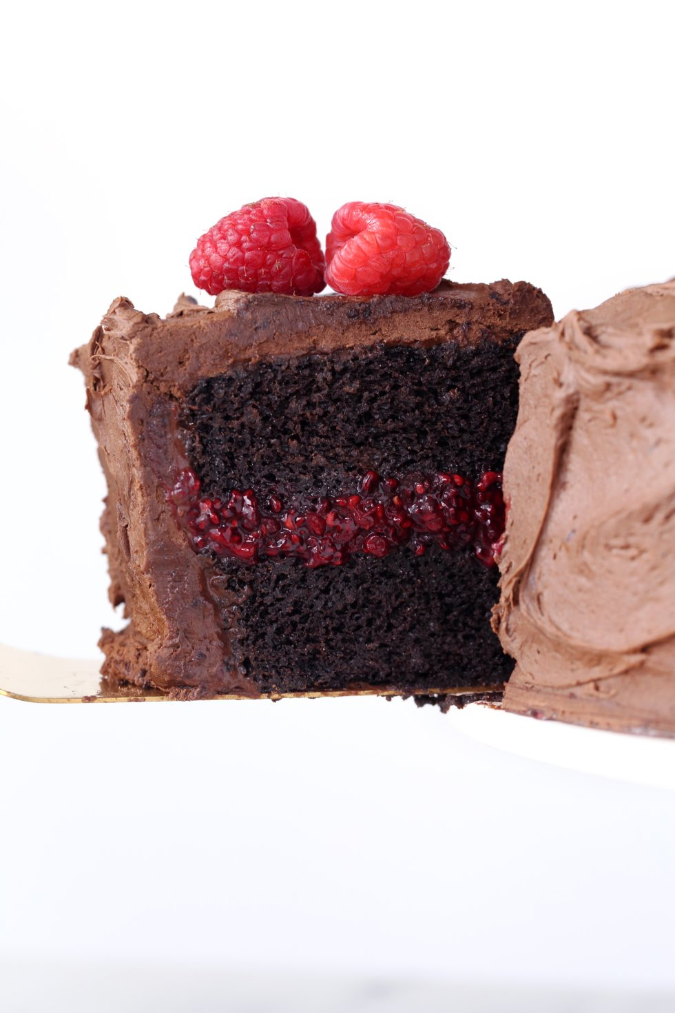 Chocolate Raspberry Layer Cake | Gluten & Dairy Free. Vegan Friendly.