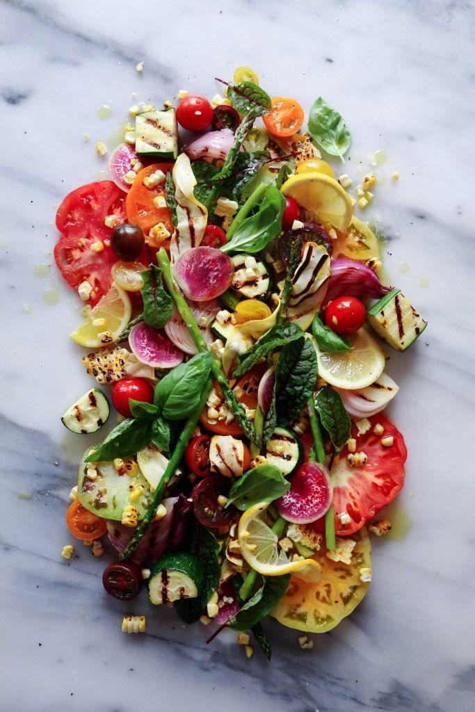 Heirloom Tomato & Grilled Veggie Salad via Wife Mama Foodie
