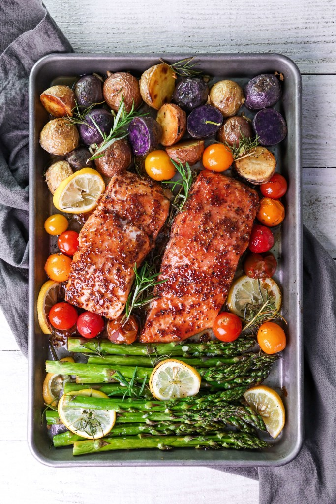One-Pan Salmon and Veggie Dinner | Gluten & Grain Free | Paleo Friendly