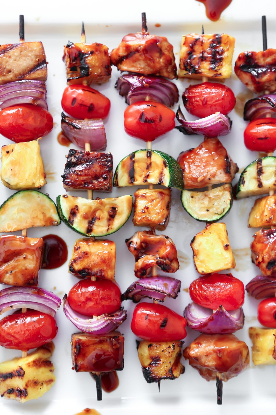 Asian Chopped Salad with Grilled Chicken or Tofu Teriyaki Kebabs