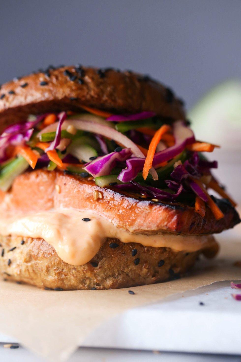 Asian Salmon Sandwiches with Sesame Slaw