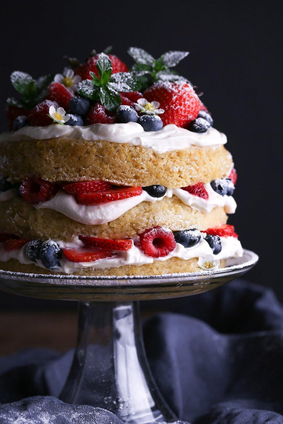 Lemon Cake with Fresh Berries | Vegan friendly with Gluten-Free Alternative