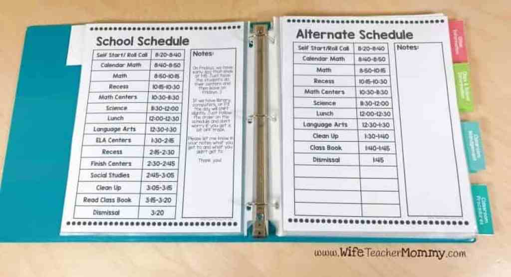 Schedules for substitute binder