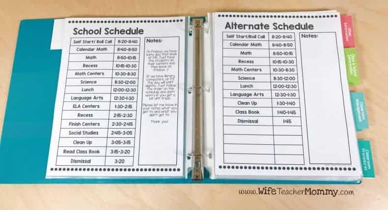 Schedules for substitute binder