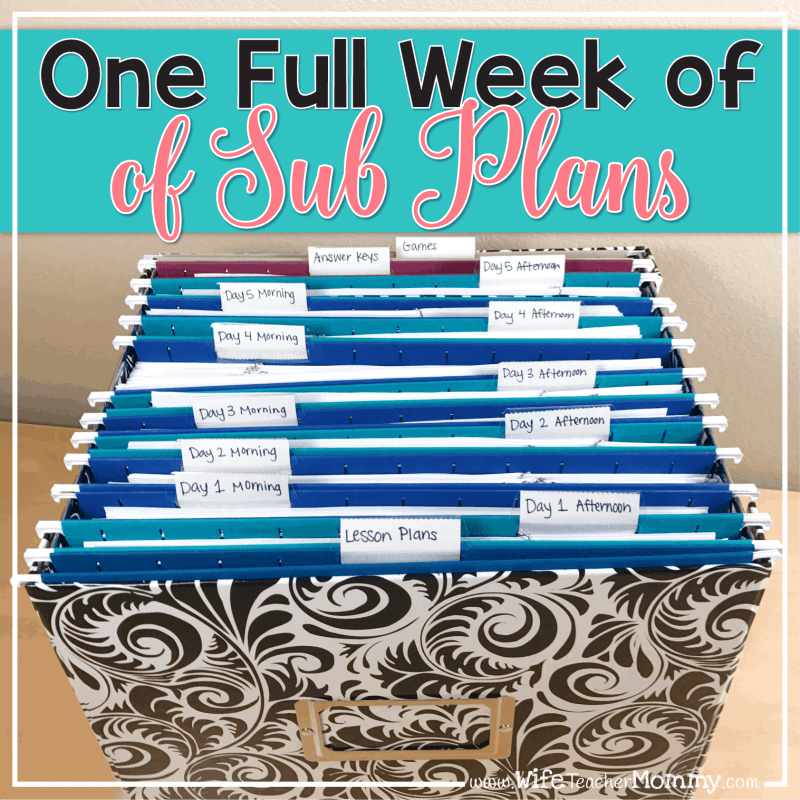 A Full Week of Sub Plans