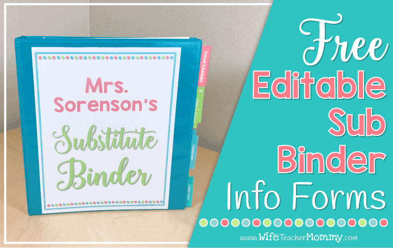 These free substitute binder forms are perfect for elementary teachers! Put them in your sub binder, and you are off to a great start! Your sub will love how organized they are.