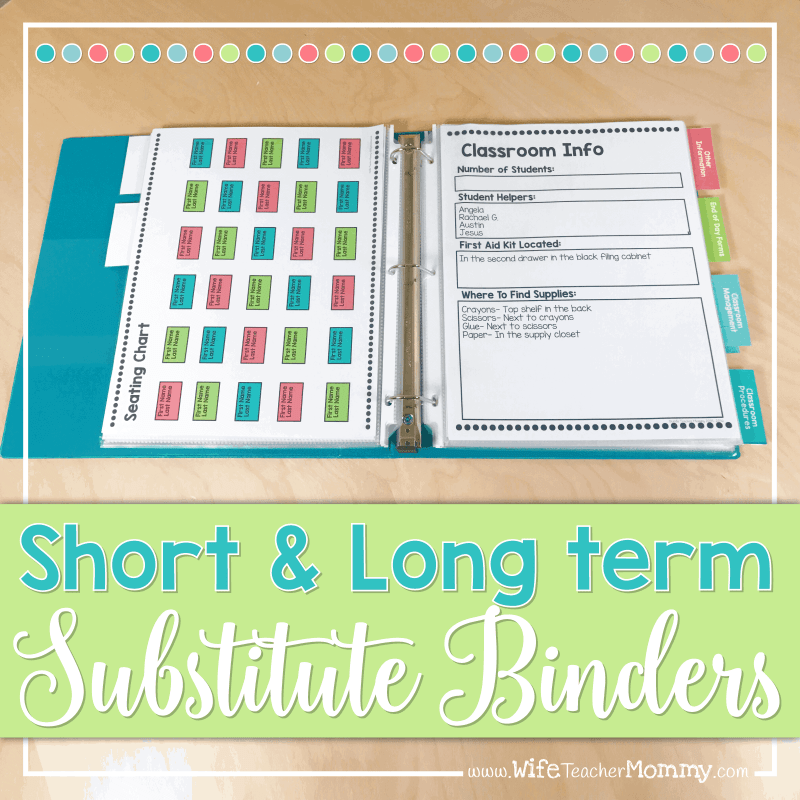 Our short and long term substitute binders are perfect for any absence!