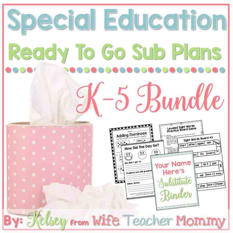 This sub plan bundle was compiled with special education teachers in mind!