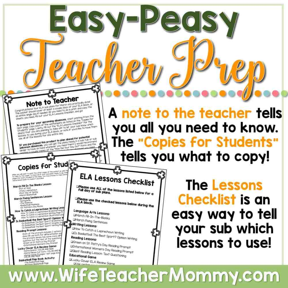 medium resolution of March Sub Plans for 3rd Grade and 4th Grade (ELA) - Wife Teacher Mommy