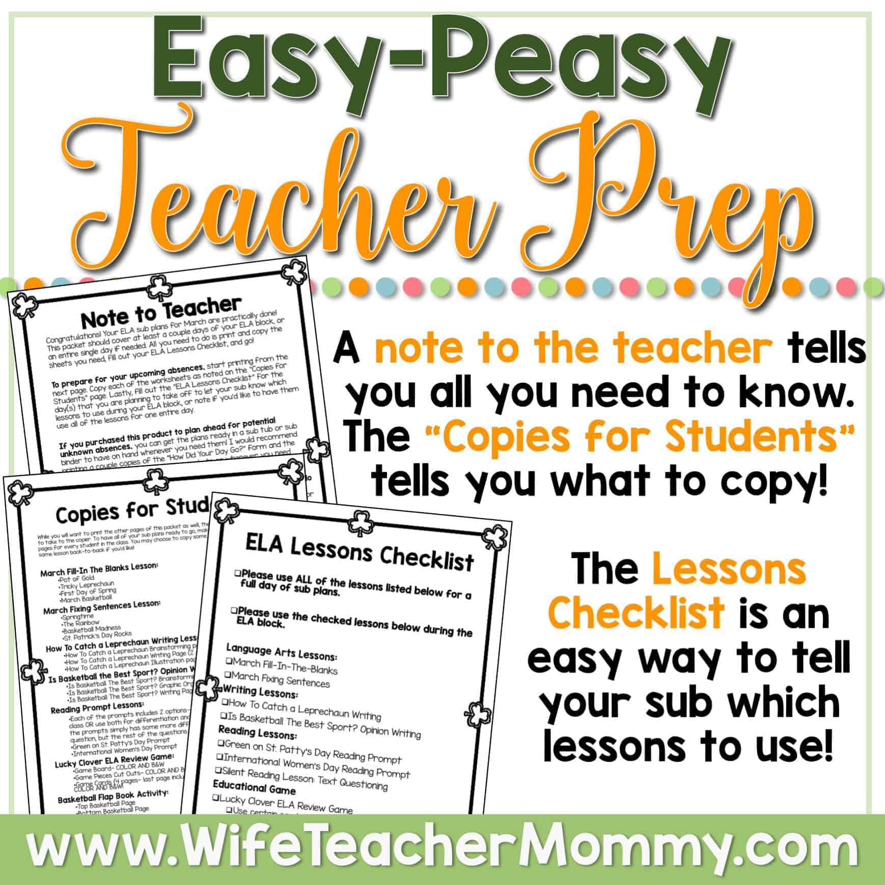 hight resolution of March Sub Plans for 3rd Grade and 4th Grade (ELA) - Wife Teacher Mommy