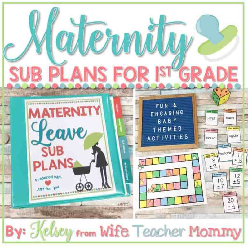 1st grade maternity leave sub plans