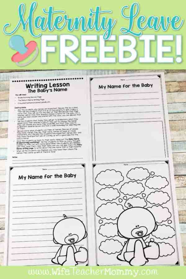 Maternity Leave Sub Plan Lesson Freebie