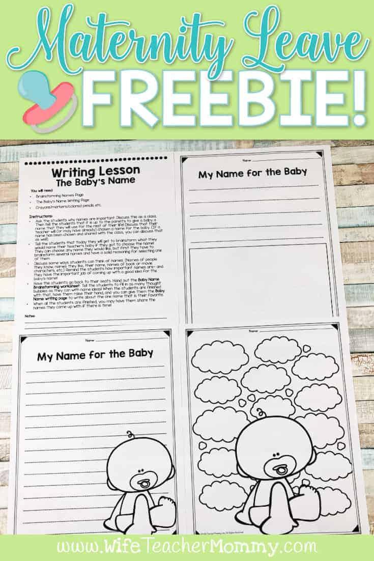 Maternity leave teacher freebie