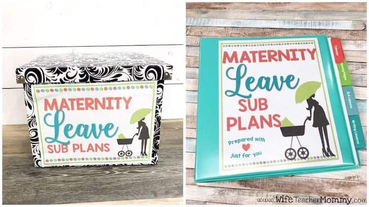 Maternity leave sub tub and maternity leave sub plans binder