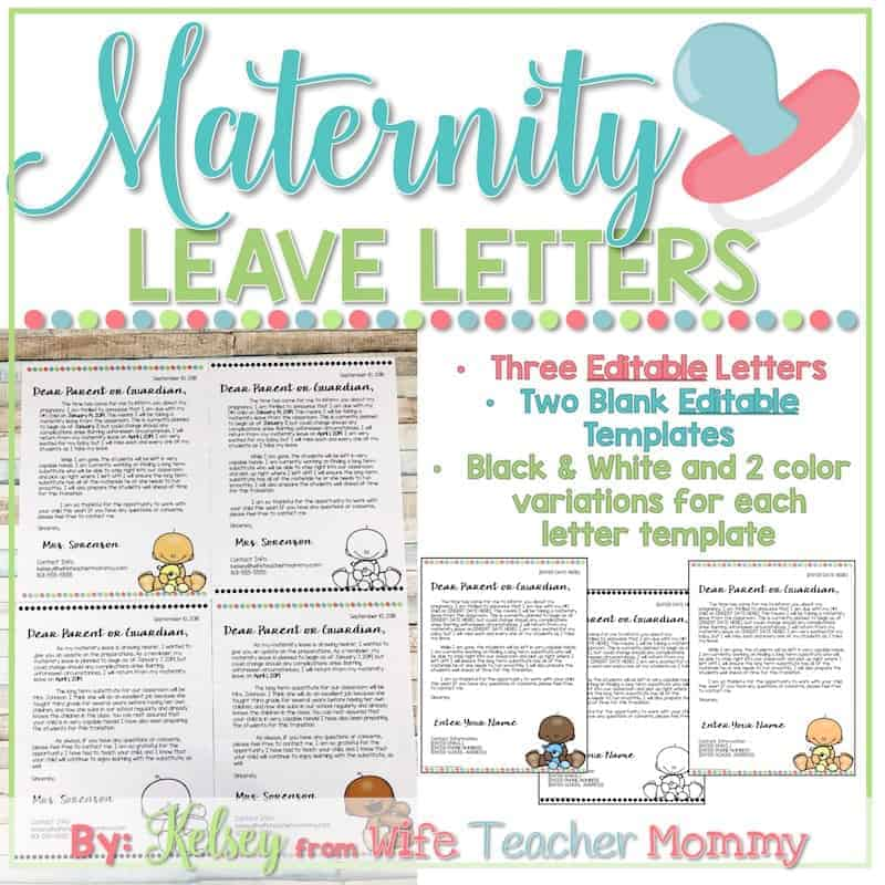 Editable Maternity Leave Letter to Parents - Wife Teacher Mommy