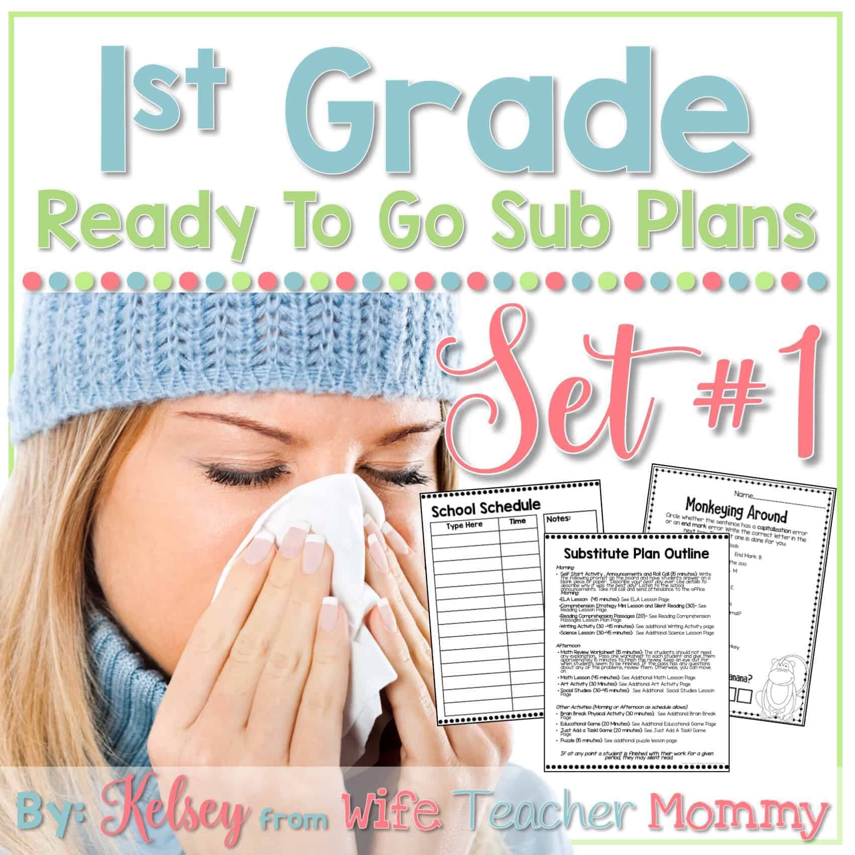 hight resolution of 1st Grade Ready To Go Sub Plans Set #1 - Wife Teacher Mommy