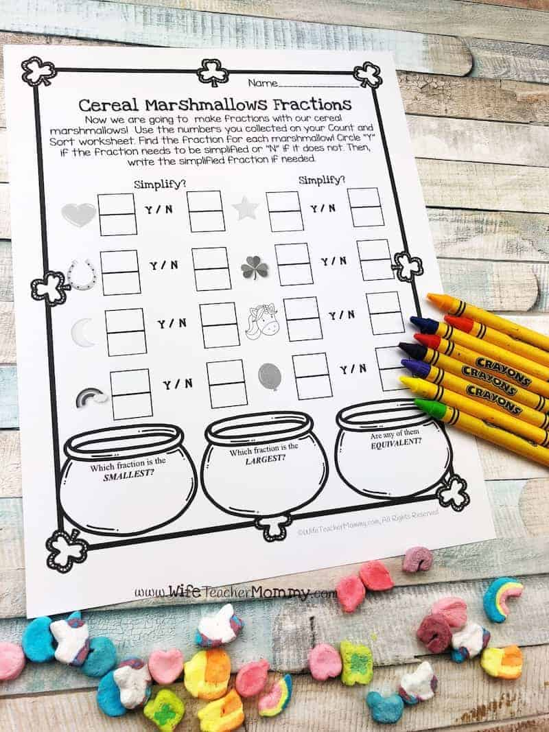 Cereal marshmallow math activities for 3rd grade, 4th grade, and 5th grade! Perfect St. Patrick's Day teaching activity!
