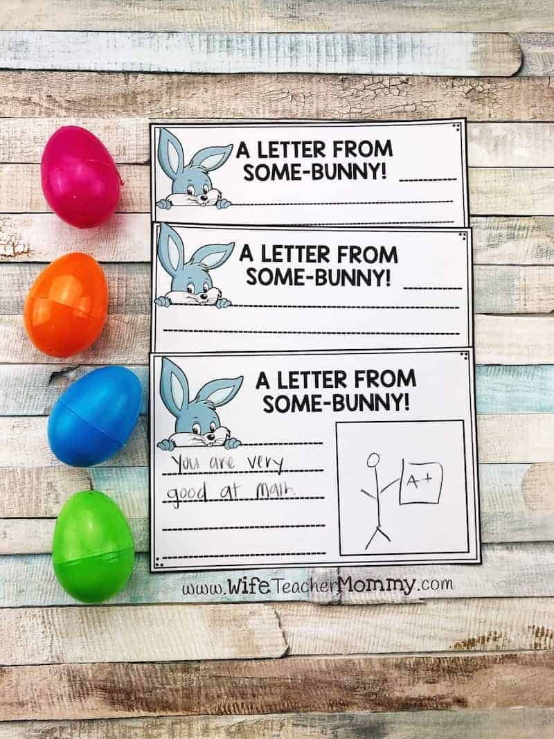 Easter writing idea! This Some-BUNNY is watching out for you secret student writing is such a fun teaching idea for Easter and spring. Great for elementary students!