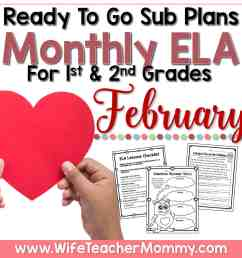 February Sub Plans for 1st and 2nd Grade - ELA - Wife Teacher Mommy [ 1738 x 1738 Pixel ]