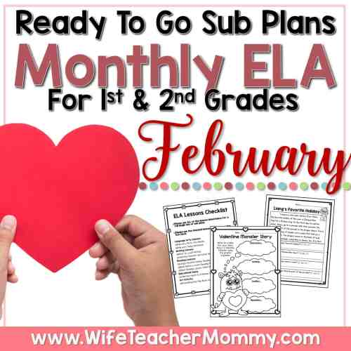 small resolution of February Sub Plans for 1st and 2nd Grade - ELA - Wife Teacher Mommy